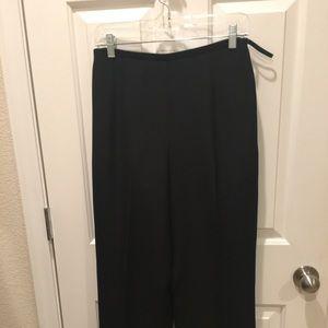 Black Silk Wide-Leg Pants
